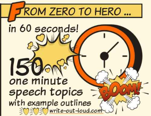 Image:comic style clockText: From zero to hero in 60 seconds - 150 1 minute speech topics