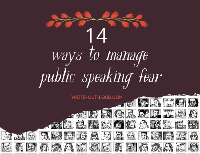 Graphic image: 14 ways to manage public speaking fear