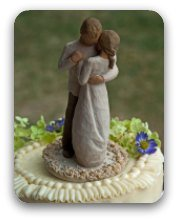 Dancing couple - figurines on top of a wedding cake.