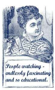 Retro graphic - woman with a pair of binoculars