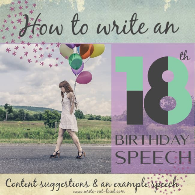 Image - girl with a bunch of balloons walking down a country road. Text: How to write an 18th birthday speech - Content suggestions and an example.