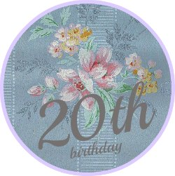 Round blue vintage wallpaer button saying 20th birthday