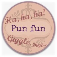 Verbal humor graphic - pun fun button