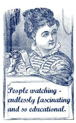 19th century graphic of a woman with a pair of binoculars