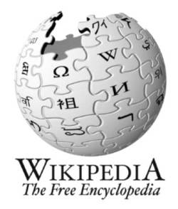 Wikipedia logo with text 'Wikipedia The Free Encyclopedia'