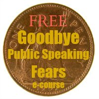 Old English penny - Caption: Free Goodbye Public Speaking Fears E-course