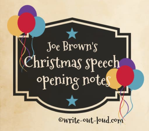 Image: Christmas label decorated with balloons. Text: Joe Brown's Christmas speech - opening notes.