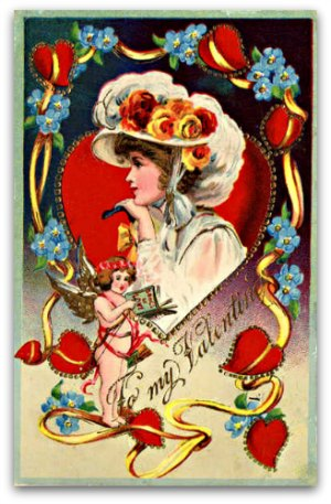 Retro valentine card -hearts & flowers