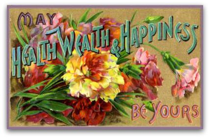 Vintage floral birthday greeting card