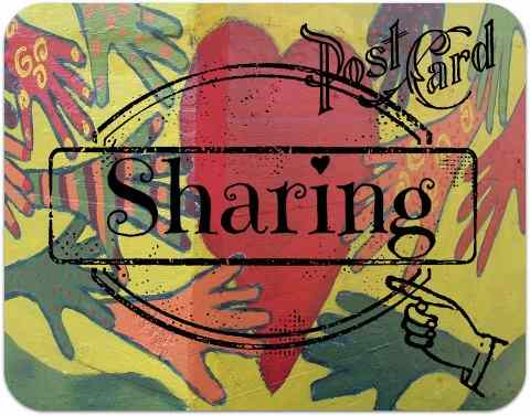 Hands around the world -sharing postcard