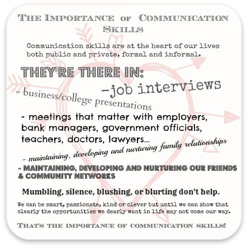 The importance of communication skills - graphic showing them at the heart of our lives.