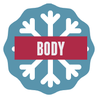 Speech body button - snowflake on blue background.