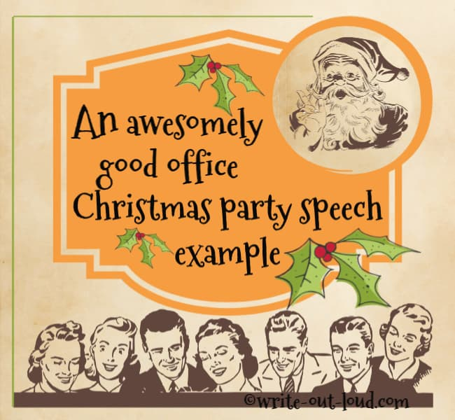 Image: Retro Santa Claus announcing 'an awesomely good office Christmas speech example' to a row of happy smiling office workers.