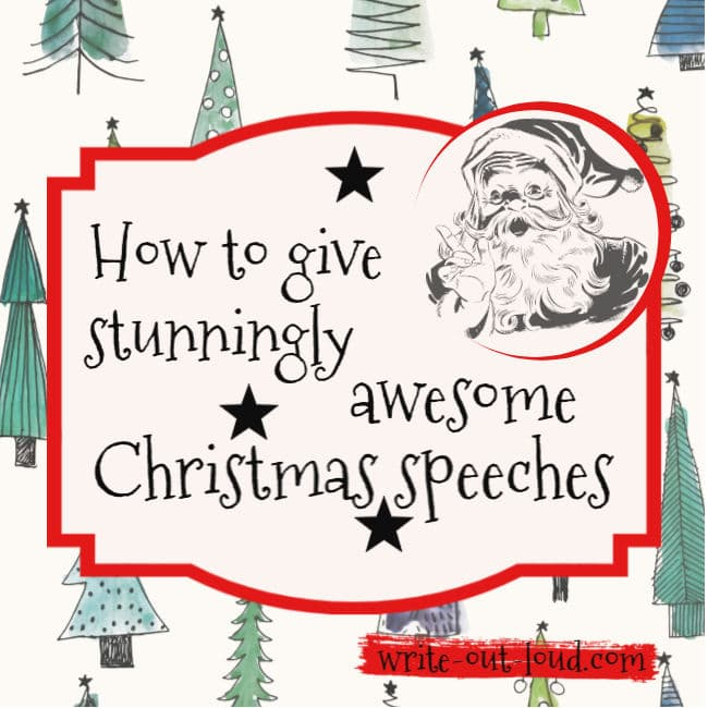 Image - background of stylized Christmas trees, retro Santa Claus and label. Text: How to give stunningly awesome Christmas speeches.