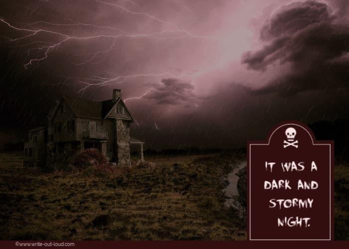 Gothic thunderstorm scene - haunted house, dark skies