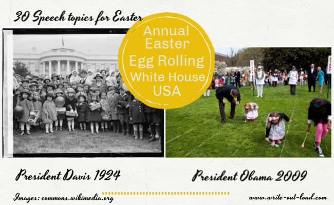 Images: Egg rolling at White House, 1924, President Davis, 2009, President Obama.