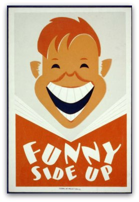 'Funny Side Up' graphic of a boy laughing