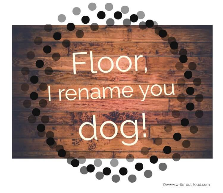 Wooden planked floor with text: Floor, I rename you dog!