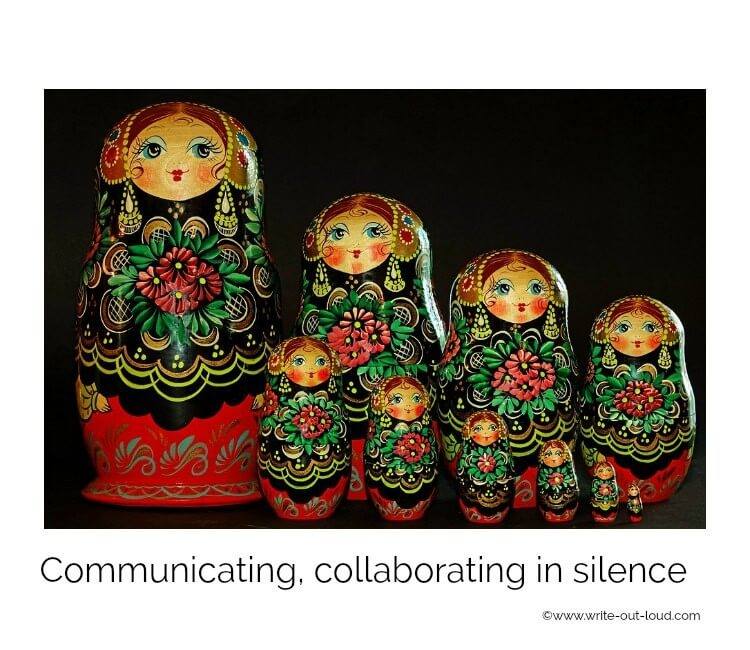 A line of Russian dolls with text: communicating and collaborating in silence.