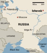 Map of Russia showing Izhevsk