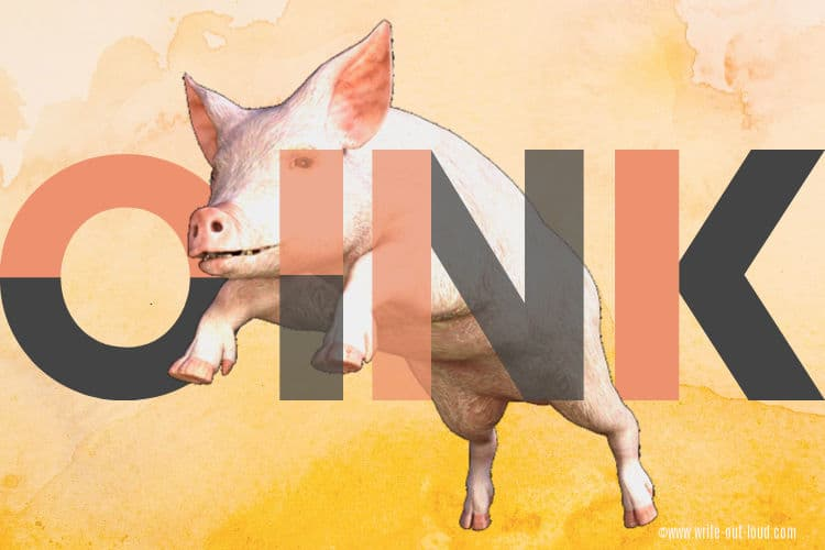 A large pink pig jumping with the word OINK superimposed over its body.