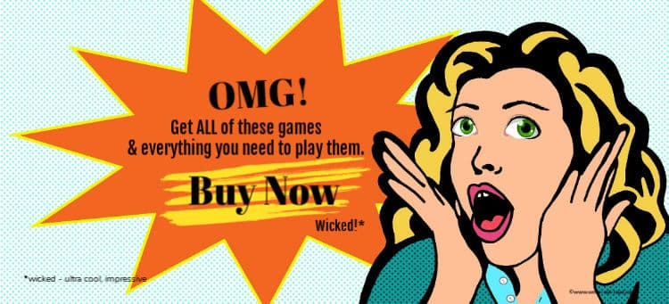 Retro cartoon of an excited young woman. Text: OMG - get all these games and everything needed to play them - BUY NOW.