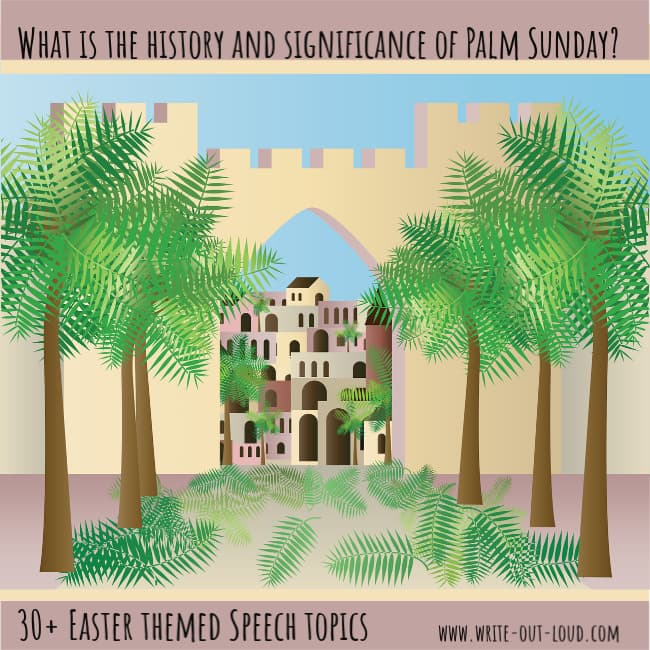 Graphic : drawing of palm tree lined street leading to old buildings. Text: What is the history of Palm Sunday? 30+ Easter themed speech topics.