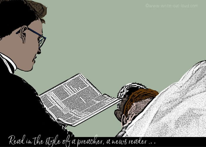 Drawing of a preacher reading to a congregation.
