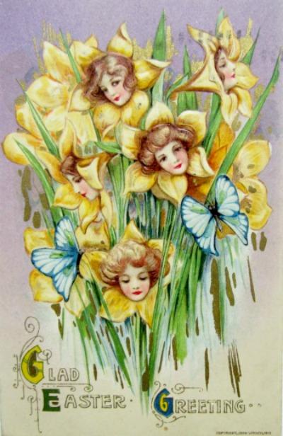 Daffodil girls -A Samuel Schmucker Easter postcard published by John Winsch -circa 1910. One of the fantasy flower series.