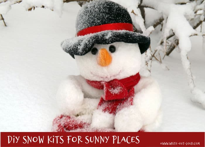 Image - Snowman with red scarf and black bowler hat in heavy snow. Text - DIY snow kits for sunny places.