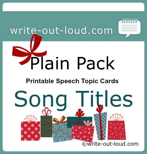 Public speaking speech topics label - song titles