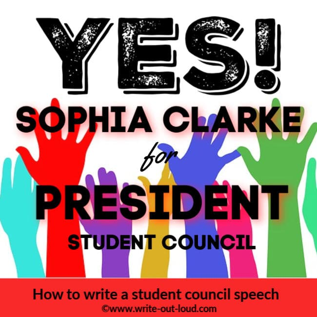 Image: multi-colored hands waving. Text: YES! Sophia Clarke for President Student Council.