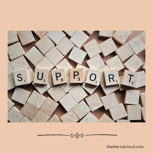 Scrabble tiles spelling support.