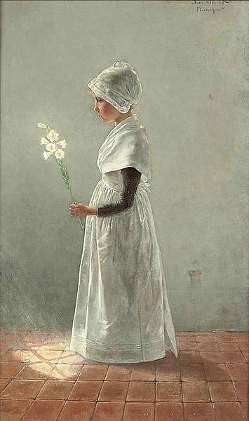 Theo Grust (1859-1919) Easter Lilies https://commons.wikimedia.org/wiki/File:Theo_Grust_-_Easter_Lilies_1890.jpg
