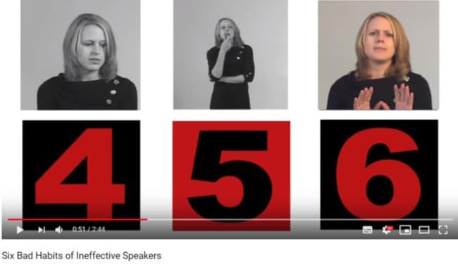Image- Stacey Hanke video- 6 Bad Habits of Ineffective Speakers.