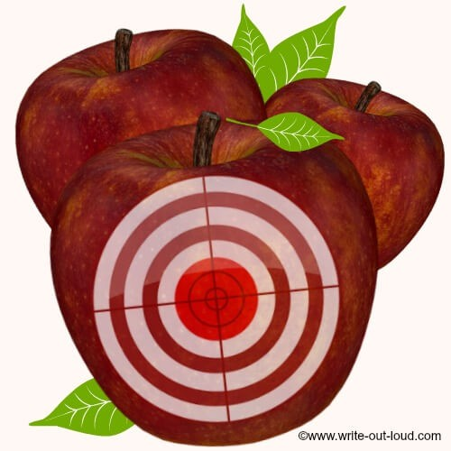 Red apple with target circle
