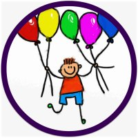 Cartoon of a happy boy holding bunches of balloons