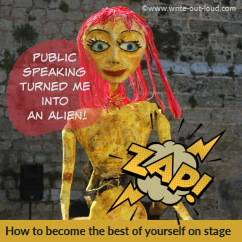 Image: tattered paper mache puppet girl with pink hair. Text: Public speaking turned me into an alien. How to be yourself on stage.