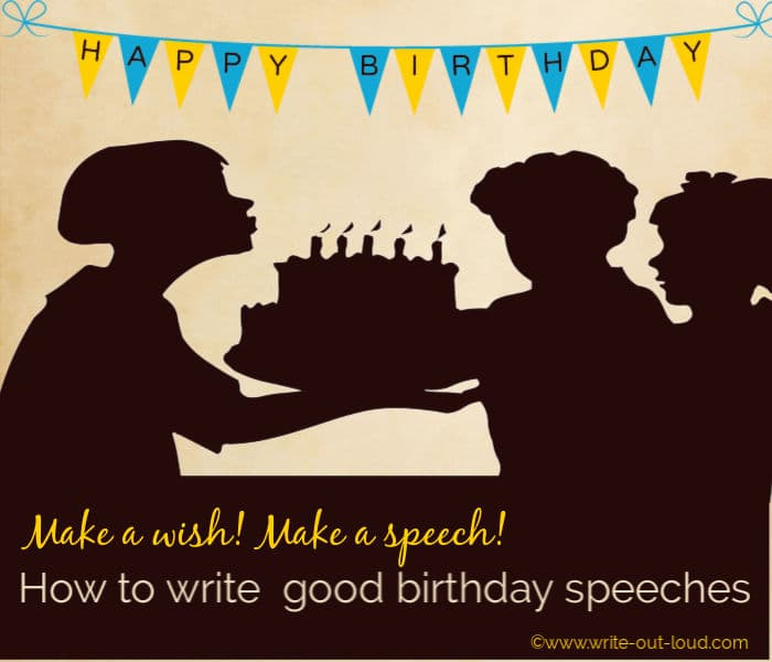 Graphic - silhouette of woman holding a birthday cake with lit candles in front of two children. Text: Make a wish. Make a speech. How to write good birthday speeches.