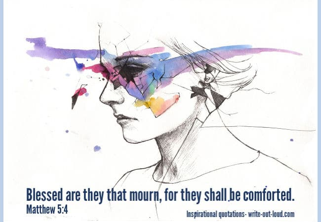Graphic: drawing/watercolor of sad person. Text: Matthew 5:4 quote: Blessed are they that mourn.