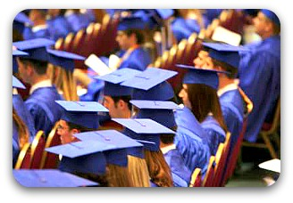 blue gowned graduates