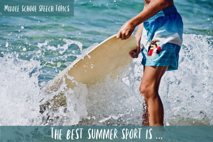 Image - boy with surfboard on beach. Text: The best summer sport is ...
