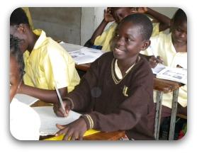 Boy in class Birdland School, Lusaka, Zambia