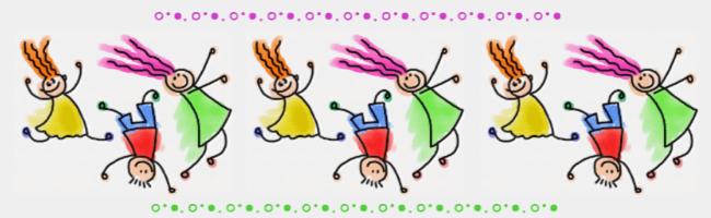 cartoon - a line of happy children