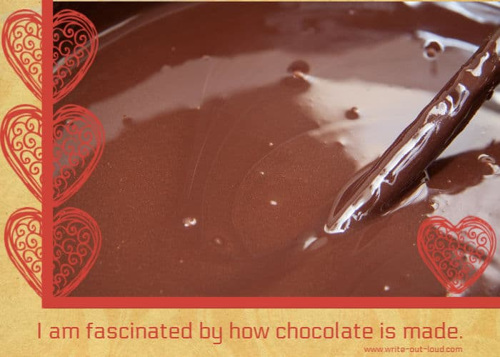 Image: a bowl of molten chocolate and stirrer.Text: I am fascinated by how chocolate is made.