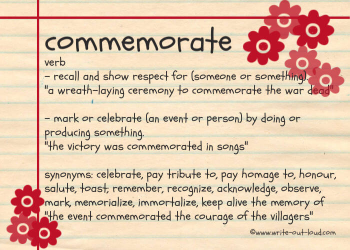 Definition of the word commemorate.