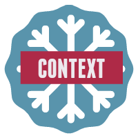 Speech context button - snowflake on blue background.