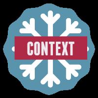Speech context button - snowflake on blue background.
