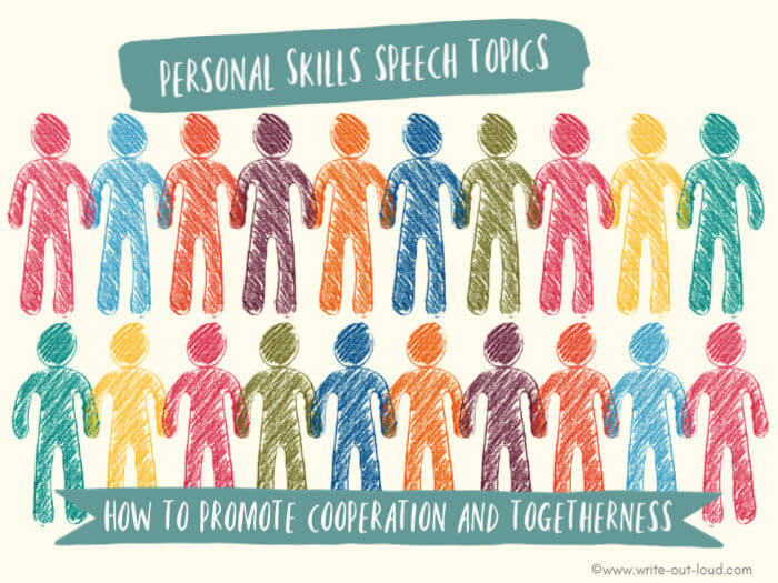 Image: drawing of 2 rows of multi-colored stylized people. Text: Personal skills speech topics - How to promote cooperation and togetherness.