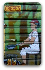 Signwriter's painting of a woman cooking crepes